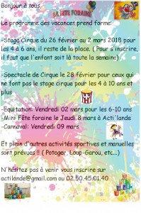 programme Février 2018